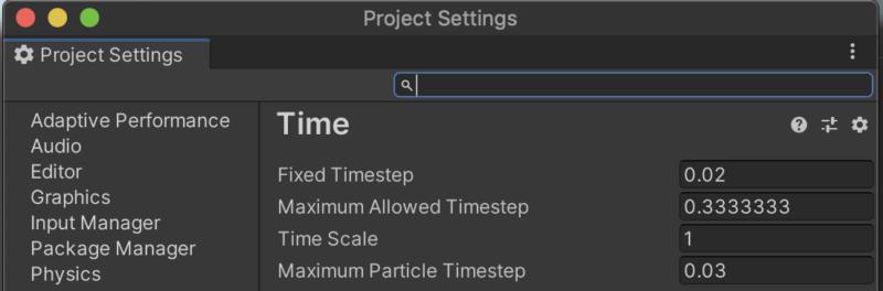 Unityプロジェクトの時間間隔設定