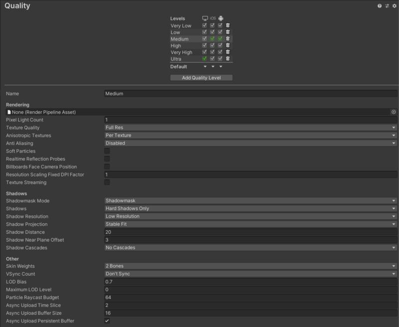 Unityアプリのクオリティ設定