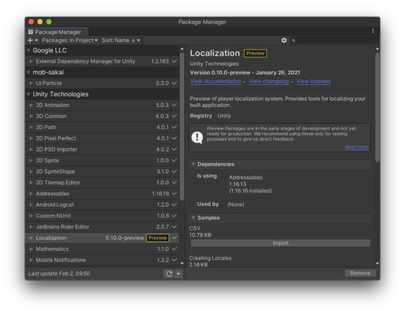 Unityで多言語化対応するためのパッケージ「Localization」