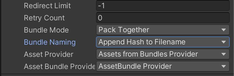 Bundle Naming を Append Hash to Filename に変更