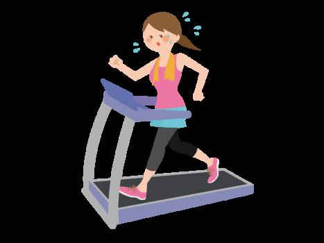 ウォーキングマシンでジョギングをする女性