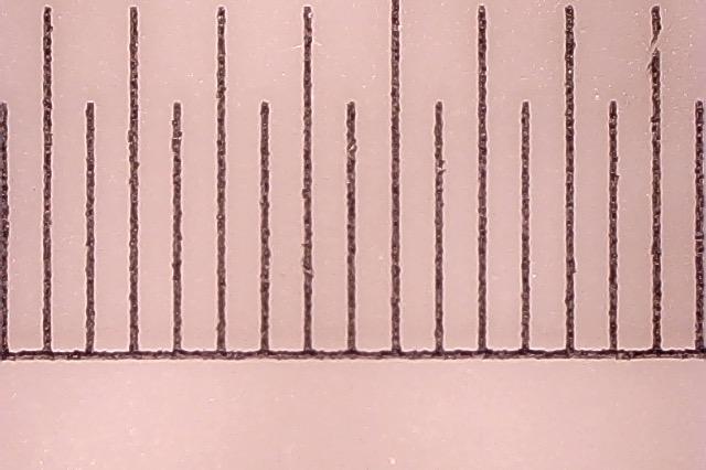 顕微鏡で拡大した定規