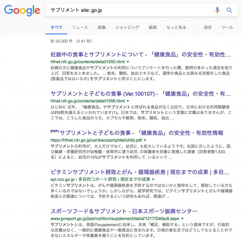 Google検索で国立の機関のみのWebページを検索した例